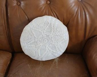 Vintage Crochet Cream Pillow / Boho Home Decor / Boudoir Decor / Textured Pillow
