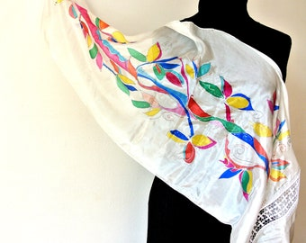 summer white pure silk scarf; with colored tree women's scarf made with silk pongé 5;