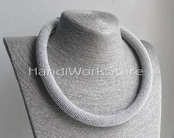 Bead Crochet Necklace Silver Wedding Beaded Necklaces HANDMADE beadwork Gray Choker Gift