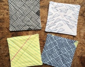 Quilted Coaster Set - Take a Letter - Yellow, Blue, and Grey