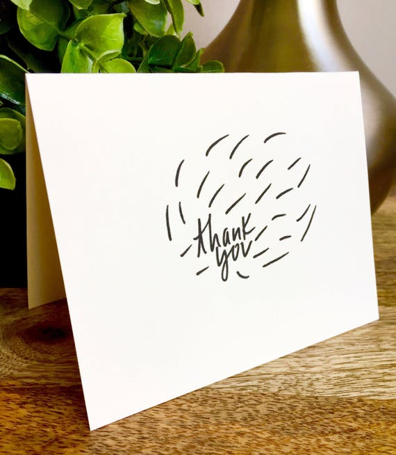 Burst of thanks, blank thank you notecard , thank you card set unique style, simple thank you card, handlettered stationery, Hand lettered