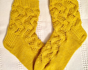 EUR Size 39-40 / US 9 / UK 7 / Handknitted Women's Warm Wool Socks, Yellow Lace Knit