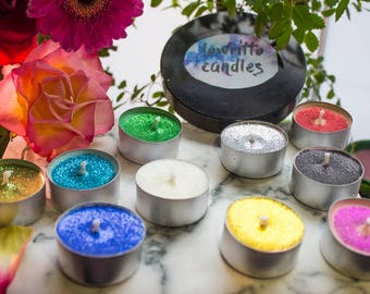 Glitter tealights - ANY COLOUR & SCENT
