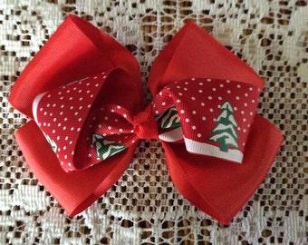 One (1) Red Christmas Handmade Hair Bow
