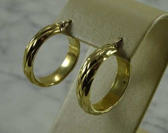 "14k Gold  Hoops 1"" Diameter Earrings (pierced)"