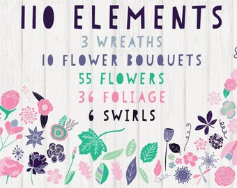 Flower Vector Clipart, Vector Clipart, Vector Patterns, Commercial Use, Floral Graphics, Floral Clip art Floral Cut Files Hand Drawn Clipart