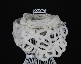 White Nuno Felted Scarf, White Silk Scarf, Silk Lace Scarf, Silk Felt, Extra Soft Wool Shawl, White evening scarf, Bridal Scarf, Wedding wra