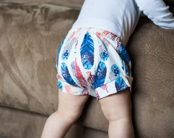 Feather Baby Shorts, Spring Baby Shorts, Easter Baby Shorts, Summer Baby Shorts, Indian Baby Shorts, Tribal Baby Shorts, Baby Girl Shorts