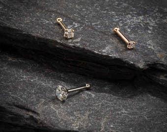 2mm (.030 ct. tw) Diamond 14K Rose Gold Nose Ring Bone - Choose Size