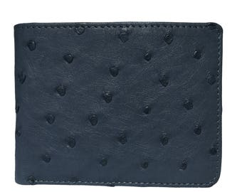 Mens Ostrich Wallet in Iris Blue