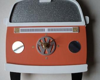 VW Camper Van wall clock - Bay Window - orange