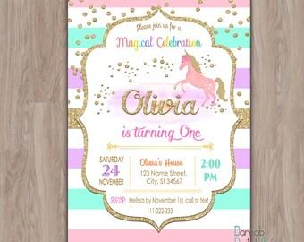 Unicorn Birthday Invitation, Unicorn invitation, unicorn invites,  first 1st birthday girl gold glitter rainbows party digital printable