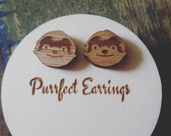 Handmade wooden laser cut bamboo SLOTH earrings