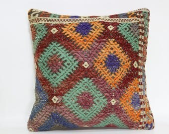 16x16 Handmade Turkish Decor Pillow 16x16 Tribal Pillow Floor Cushion Aztec  Pillow Case Ethnick Pillow Couch