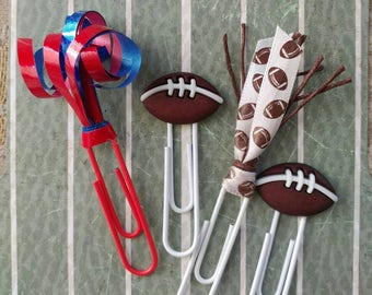 Football office paperclips color ribbon