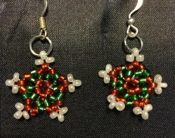 Festive christmas star earrings