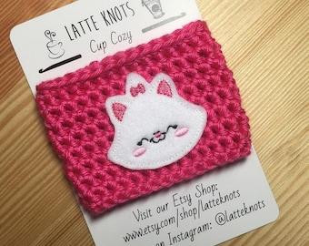 Aristocats Marie Cat Coffee Cup Cozy / Crochet Coffee Sleeve / Reusable Cozie / Customizable