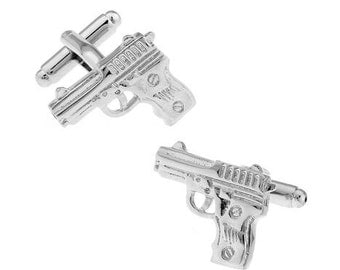 Pistol Gun Cufflinks - Silver Color-k41  - Free Gift Box