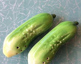 Vintage cucumber salt and pepper shaker set