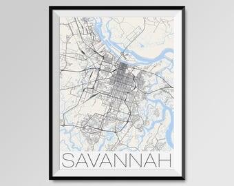 SAVANNAH Georgia Map, Savannah City Map Print, Savannah Map Poster, Savannah Wall Map Art, Savannah gift, Custom city maps, Personalized