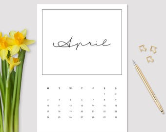 2017 April Calendar - Monthly Calendar - Printable April Calendar - Minimalistic Calendar - April Calendar - 2017 Planner - Wall Calendar