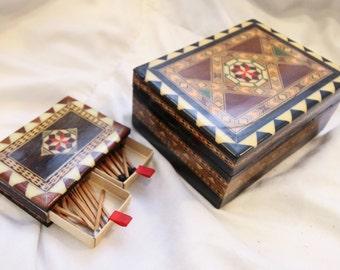 Set of 2 Vintage Inlaid Mosaic Boxes
