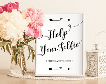 Heart Arrow Help your Selfie Station Wedding Printable Sign Template, Photo Booth, Custom Hashtag, Calligraphy, Instant Download, ISP095