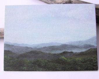 Small original acrylic painting. Landscape acrylic painting. Mountains acrylic art painting. Canvas panel painting. Green mountains painting