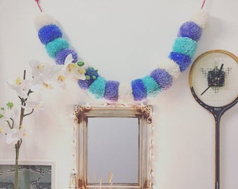 Large pastel Pompom Garland, pompom bunting, draft excluder, headboard decoration, wall art, party decor, nursery decor, pompom wall hanging