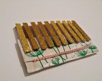 Gold Glitter Clothespins