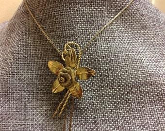 Vintage Metal Flower Slider Necklace