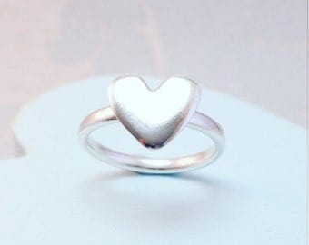 Heart Ring, Silver Heart Ring,  Heart Stackable Silver Ring, Chunky Heart Ring, Large Heart Ring, Sterling Silver Handmade Heart Ring