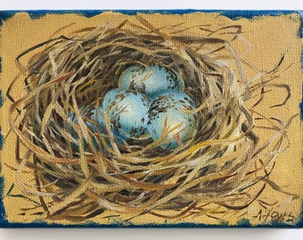 "Red Winged Black Bird Nest 5""x7"" Oil Painting"