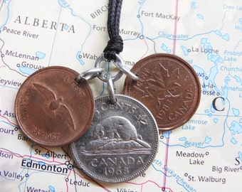 Canada coin necklace - 2 different designs - made of an original coins from Canada - Wanderlust - beaver