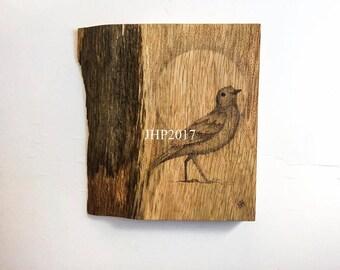 Pyrography art female blackbird, woodburned dotwork feature wall art bird, original signed one of a kind artwork, rustic wood wall art bird