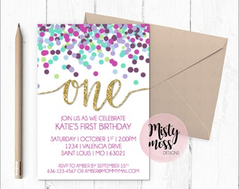 First Birthday Party Invitation - One, Dots, Girl