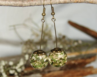 Real Flower Earrings, Gift Resin Jewelry Art Earrings, Dangle Earrings Inspire Jewelry Gift, Drop Earrings Rustic Art Jewelry, Natural Gift