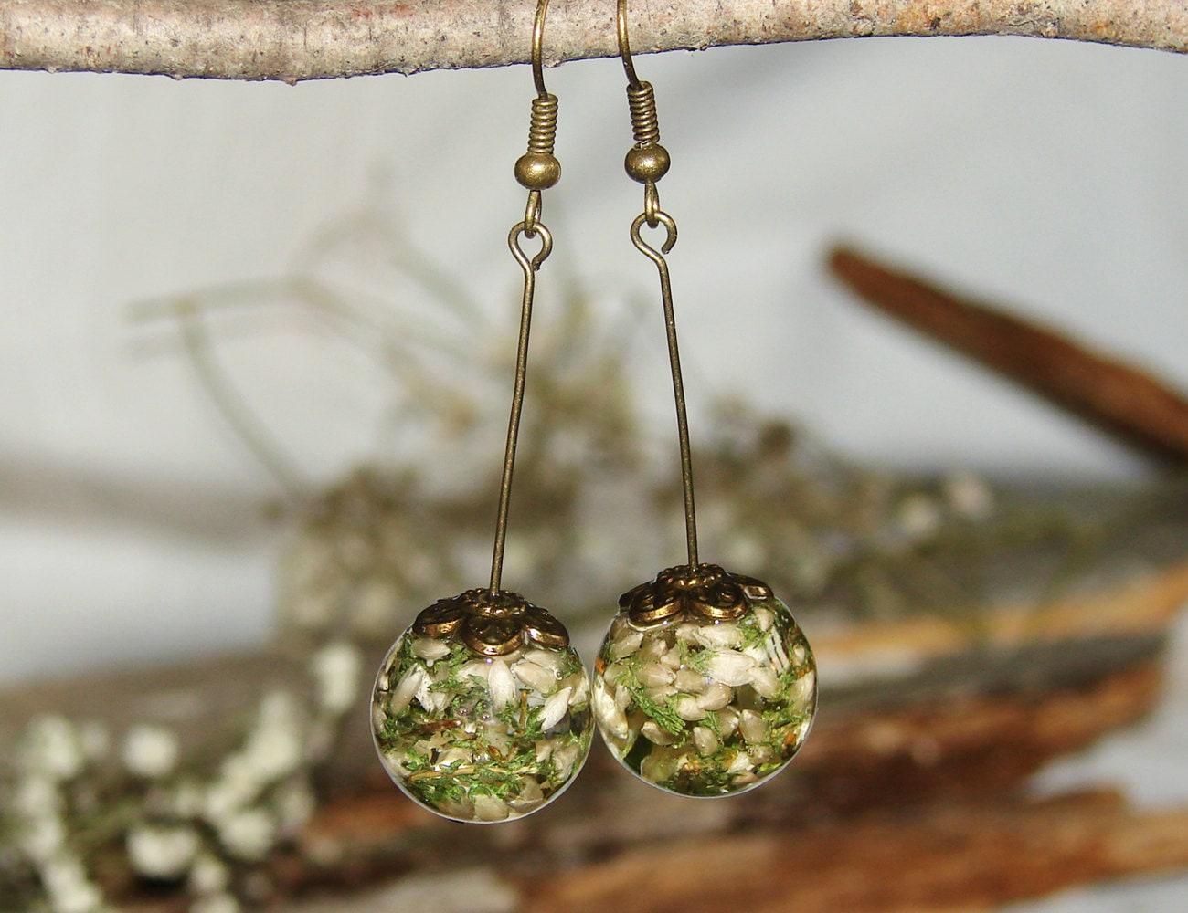 Real Flower Earrings Gift Resin Jewelry Art Earrings Dangle