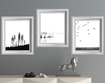 Set of 3 wall art, black and white print, set of prints,minimalist print,nature wall art,wall art print, set of 3 prints, set of 3 printable