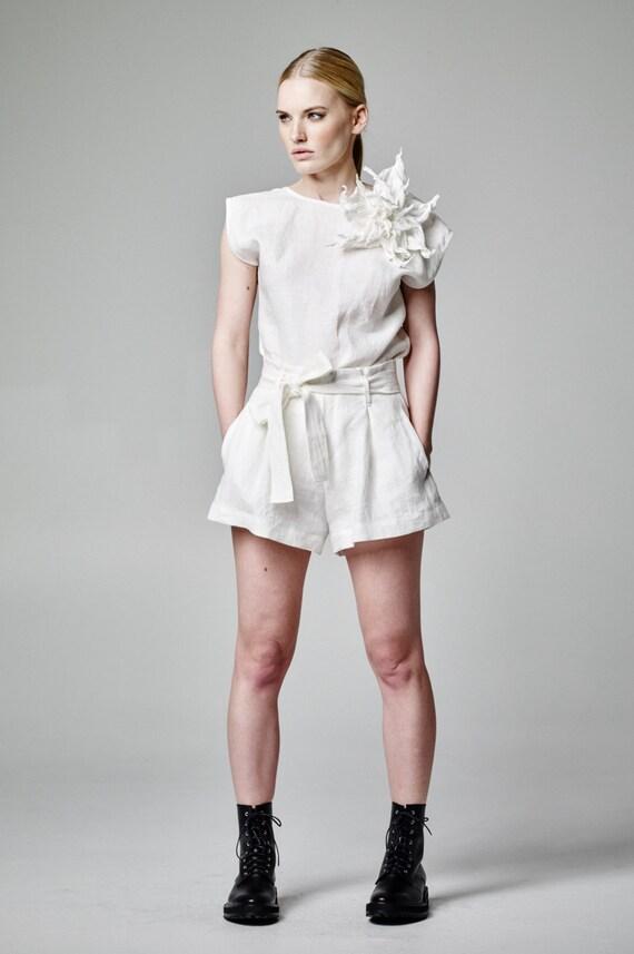 White Linen Shorts Ladies Hardon Clothes
