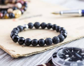 8mm - Matte black onyx, shiny onyx and lava stone beaded stretchy bracelet, made to order lava bracelet, mens bracelet, womens bracelet