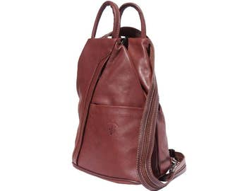 Italian Leather Backpack Shoulder Bag Handcrafted In Florence Italy in brown 2061