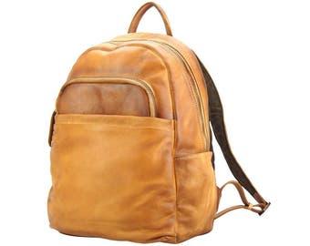 Italian Handmade Vintage Tan Leather Backpack Business Bag 68030