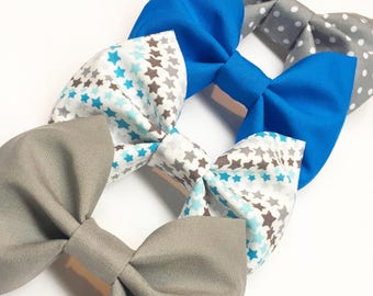 Fabric Bow, Blue Bow, Gray Bow, Girls Bow, Boys Bow Tie, Fabric Hair Bow, Retro Bow, Baby Bow, Bow Tie, Sibling Bow Set, Matching Bows.