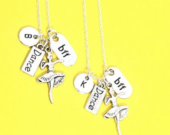 925 Sterling Silver,Best friend necklace, dancer charm necklace, dancing charm, dance charm, dance jewelry, bff set of two, 2 best friends,