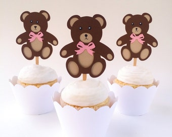 Teddy Bear Cupcake Toppers - Girl Teddy Bear in Pink - Set of 12 - Baby Shower, 1st Birthday - Ready to Ship