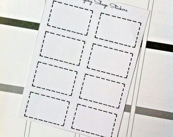 Stitched Black and White Half Box Planner Stickers