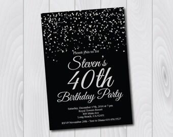 40th Birthday Invitation/Printable Silver & Black Birthday Invitation/e-card invitation/Template/Birthday Invitation/fortieth birthday