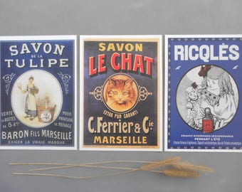 Vintage old postcards posters maps advertising Savon Le Chat Marseille Tulipe Ricqles France Collection reproductions wall decoration