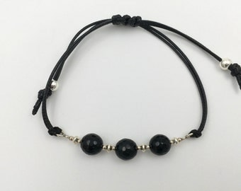 Bracelet in silver and onyx